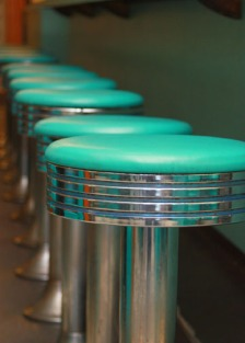 Brent's Drugs turquoise barstools