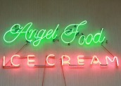 Neon sign in Brent's Drugs