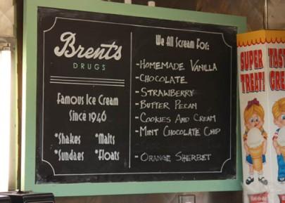 Brent's Drugs menu